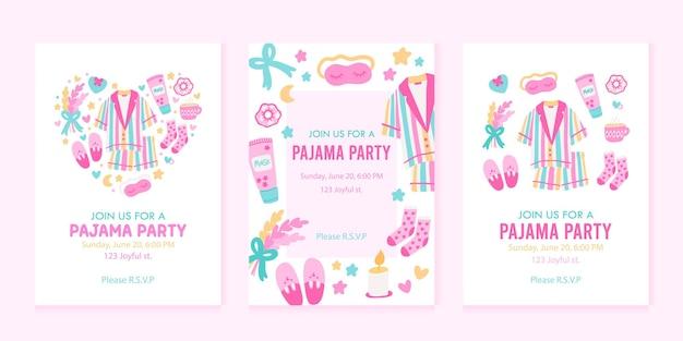 Sjablonen voor uitnodigingen voor pyjamafeesten met voorbeeldtekst