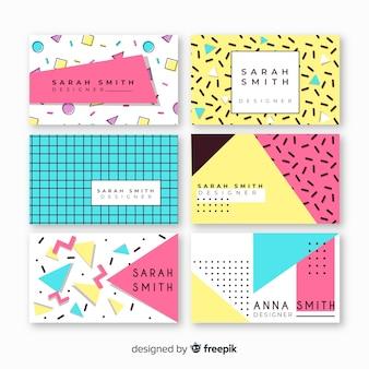 Sjablonen voor visitekaartjes in memphis-stijl