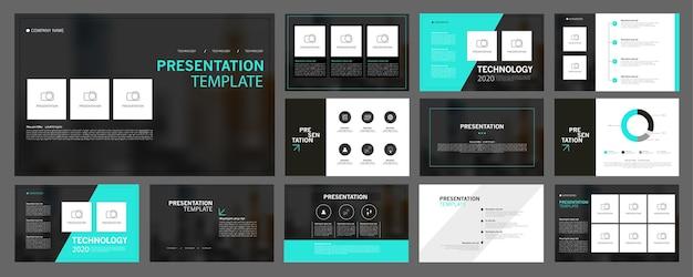 Sjablonen voor zakelijke presentaties worden gebruikt in de presentatieflyer en het bedrijfsverslag van de bijsluiter