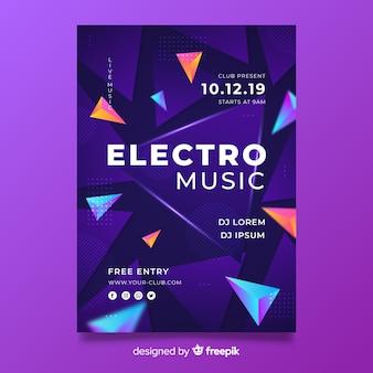 Sjabloon 3d effect abstracte elektronische muziekaffiche