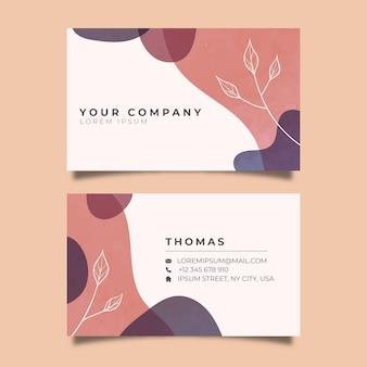 Sjabloon abstract visitekaartje met pastel gekleurde vlek