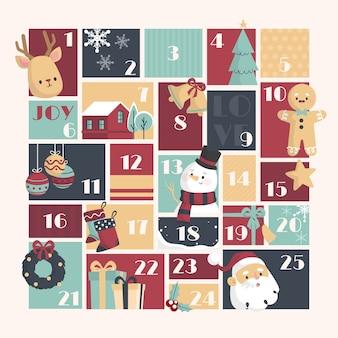 Sjabloon advent kalender plat ontwerp