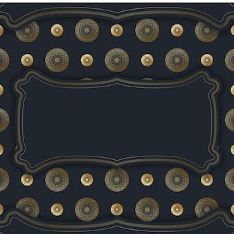 Sjabloon ansichtkaart in zwart met vintage gouden patroon voorbereid voor typografie.