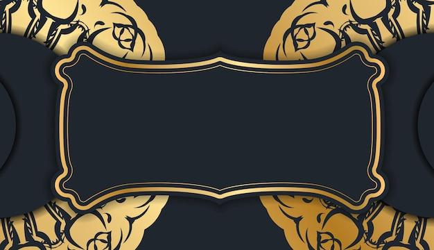 Sjabloon ansichtkaart in zwarte kleur met vintage gouden patroon klaar om af te drukken.