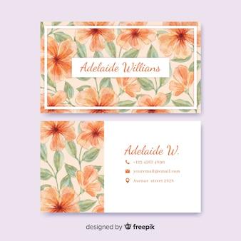 Sjabloon aquarel bloemen visitekaartje