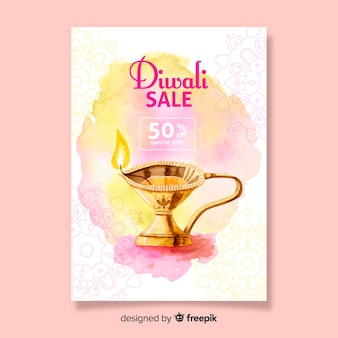 Sjabloon aquarel diwali verkoop poster