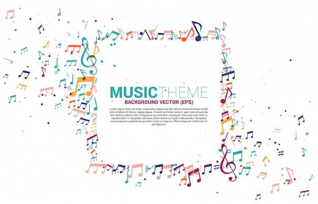 Sjabloon banner en poster kleurrijke muziek melodietoon dansen stroom.