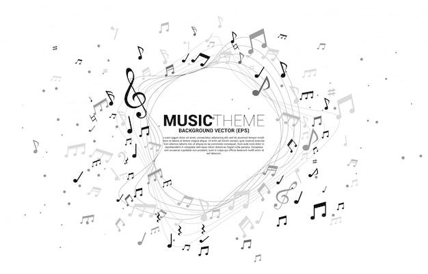 Sjabloon banner en poster muziek melodie noot dansen stroom. lied en concert thema.