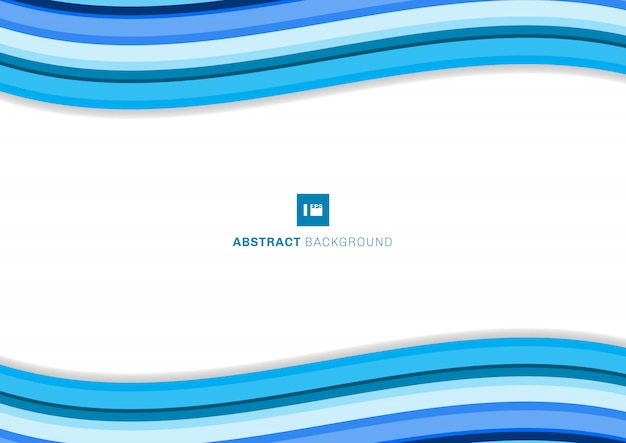 Sjabloon blauwe golf lijnen kromme witte achtergrond