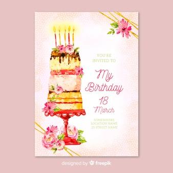 Sjabloon bloemen verjaardagsuitnodiging