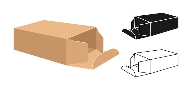 Sjabloon box set cartoon, lineaire en zwarte glyph-stijl verpakking geschenkdozen collectie