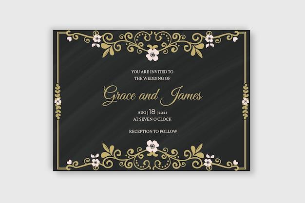 Sjabloon bruiloft retro uitnodiging