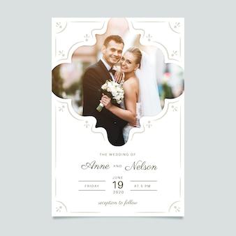 Sjabloon bruiloft uitnodiging met afbeelding