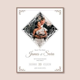 Sjabloon bruiloft uitnodiging met foto