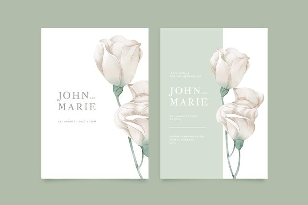 Sjabloon bruiloft uitnodiging met grote bloem
