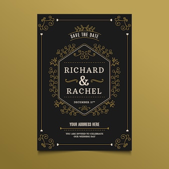 Sjabloon bruiloft uitnodiging retro