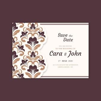 Sjabloon damast elegante bruiloft uitnodiging