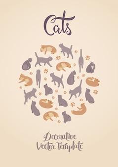 Sjabloon decoreren met katten