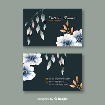 Sjabloon elegante bloemen visitekaartje