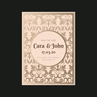 Sjabloon elegante damast bruiloft uitnodiging