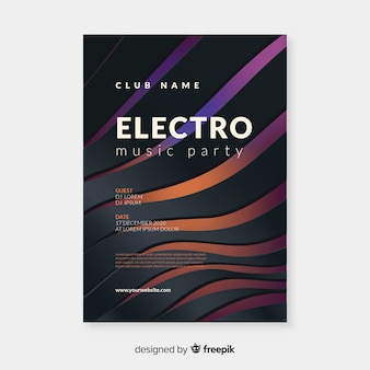 Sjabloon elektronische muziek 3d effect poster