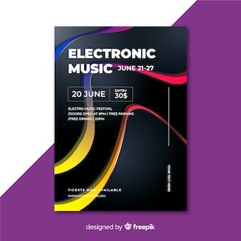 Sjabloon elektronische muziek abstracte poster