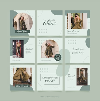 Sjabloon fashion women instagram puzzle feed