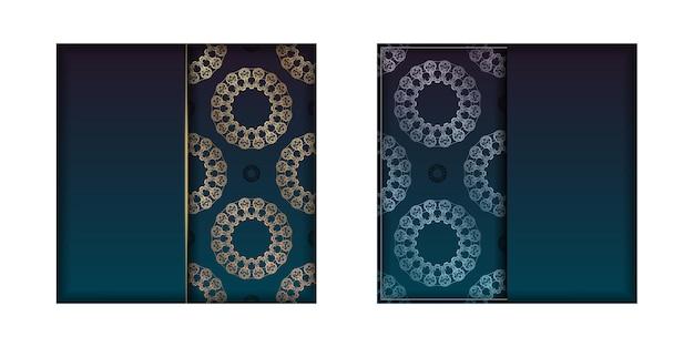 Sjabloon felicitatie flyer met een kleurverloop van blauwe kleur met een gouden mandala-patroon voor uw felicitaties.