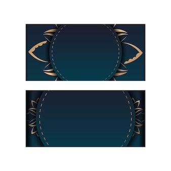 Sjabloon felicitatie flyer met een kleurverloop van blauwe kleur met een gouden mandala-patroon voor uw merk.