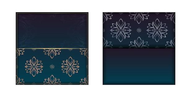 Sjabloon felicitatie flyer met een kleurverloop van blauwe kleur met een mandala gouden ornament voor uw merk.