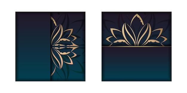 Sjabloon felicitatie flyer met een verloop van blauwe kleur met een mandala gouden sieraad voor uw ontwerp.