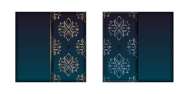 Sjabloon felicitatie flyer met kleurovergang blauwe kleur met mandala gouden sieraad voorbereid voor typografie.