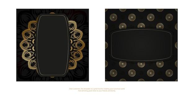 Sjabloon felicitatiebrochure in zwart met goud indiaas patroon