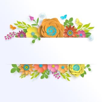 Sjabloon floral papier kunst van de banner met vlinder