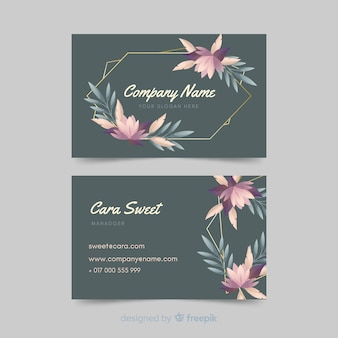 Sjabloon floral visitekaartje met gouden lijnen