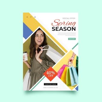 Sjabloon folder met afbeelding lente verkoop