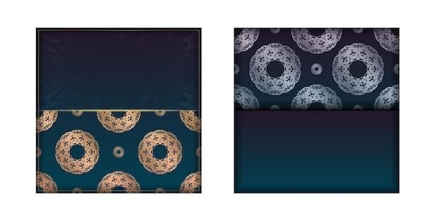 Sjabloon folder met blauwe kleurovergang met mandala gouden sieraad voor uw felicitaties.