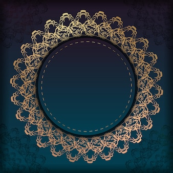 Sjabloon folder met blauwe kleurovergang met mandala gouden sieraad voor uw ontwerp.