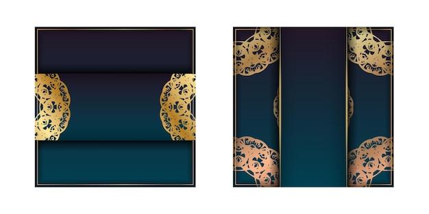 Sjabloon folder met blauwe kleurovergang met mandala gouden sieraad voorbereid voor typografie.