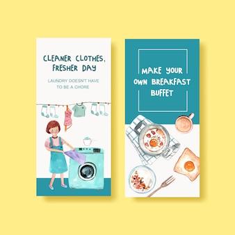 Sjabloon folder met dagelijks leven aquarel illustratie. schonere kleding