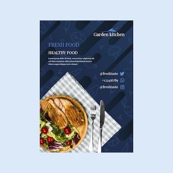 Sjabloon folder met gezond voedsel voor restaurant