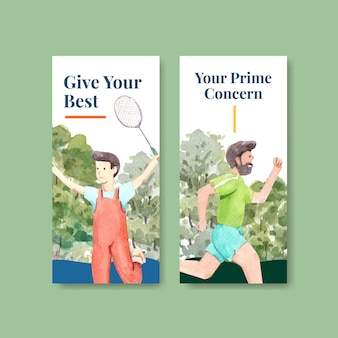 Sjabloon folder met wereld geestelijke gezondheid dag conceptontwerp voor brochure en folder aquarel