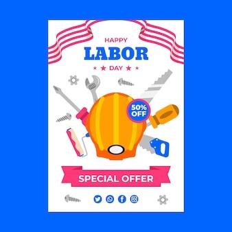 Sjabloon folder verticale verkoop dag van de arbeid