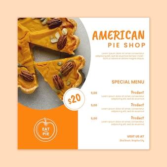 Sjabloon folder voor amerikaanse taart