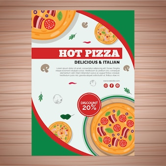Sjabloon folder voor pizzarestaurant in a5-formaat