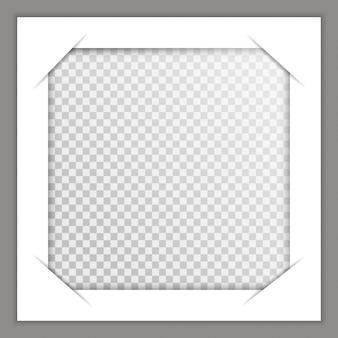 Sjabloon fotolijsten met schaduw op transparante achtergrond