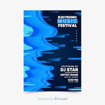 Sjabloon glitch effect elektronische muziek poster