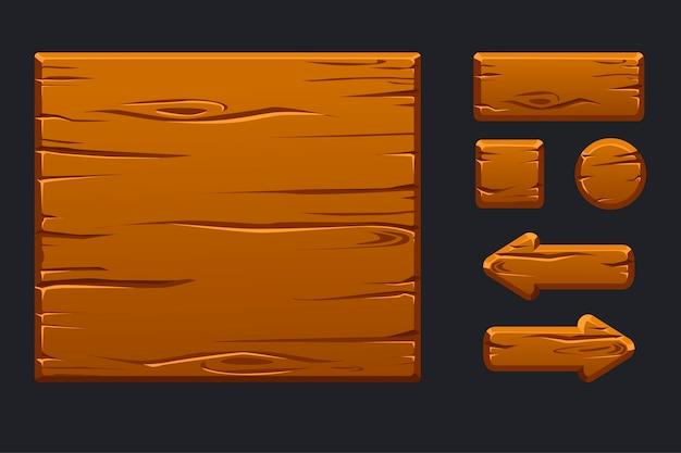 Sjabloon groene houten menu van grafische gebruikersinterface en knoppen
