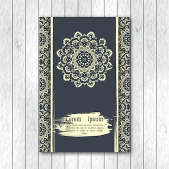 Sjabloon groet, uitnodigingskaart, brochure met hand getrokken
