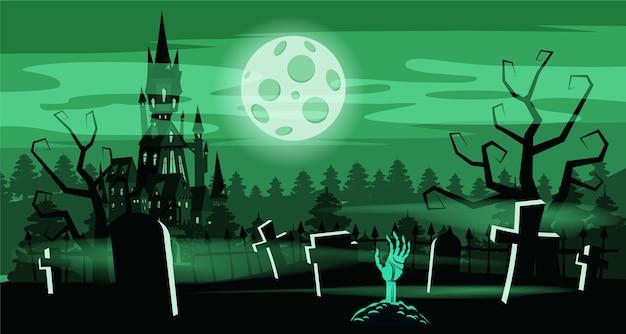 Sjabloon halloween-vakantiekerkhof, zwart verlaten kasteel, somber herfstbos, panorama, maan, kruisen en grafstenen